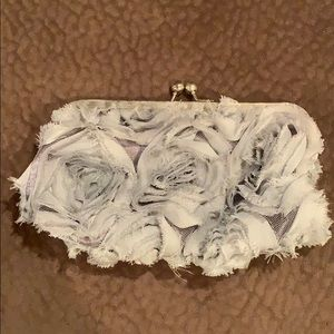Jessica McClintock Gray Flower Clutch w/ strap